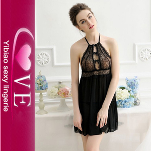 Cheap Transparent Halter Sheer Black Lacey Babydoll And G-String