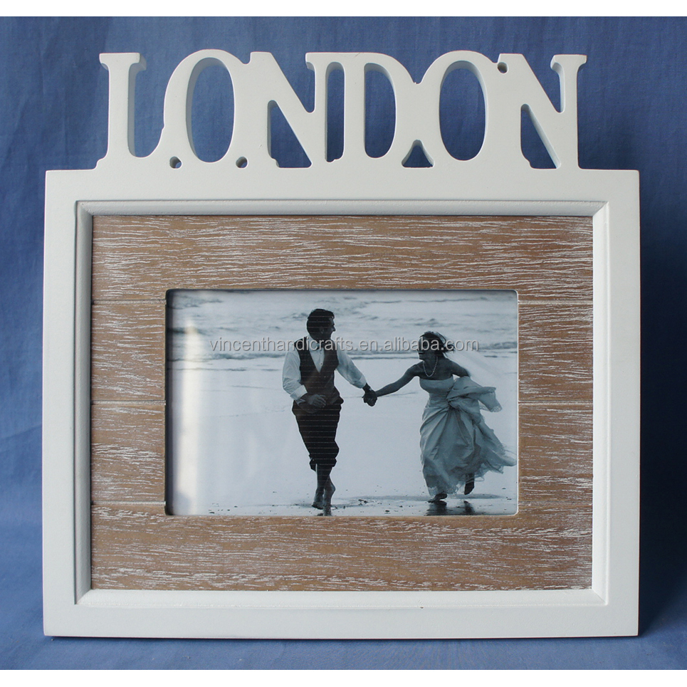 White engraved london word wooden photo frame