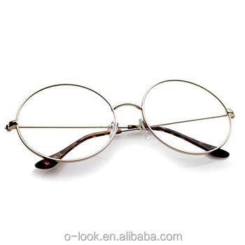 227196baab Classic Oversize Slim Metal Frame Clear Flat Lens Round Eyeglasses Optical  Frame