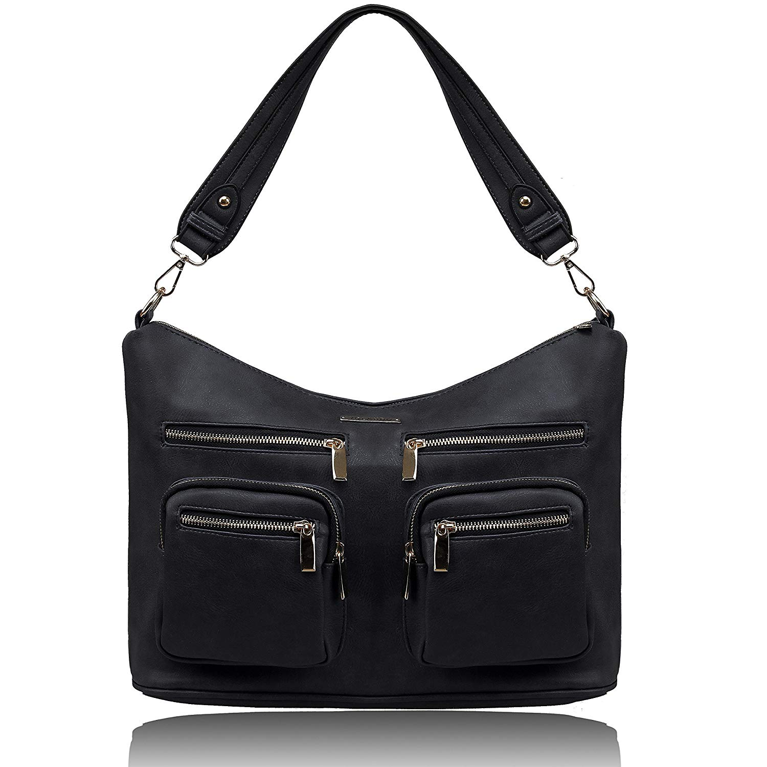 5306daa37f Get Quotations · YOLANDO Womens Vegan PU Leather Slouchy Hobo Tote Bag with  Zip Closure and Zippered Pockets