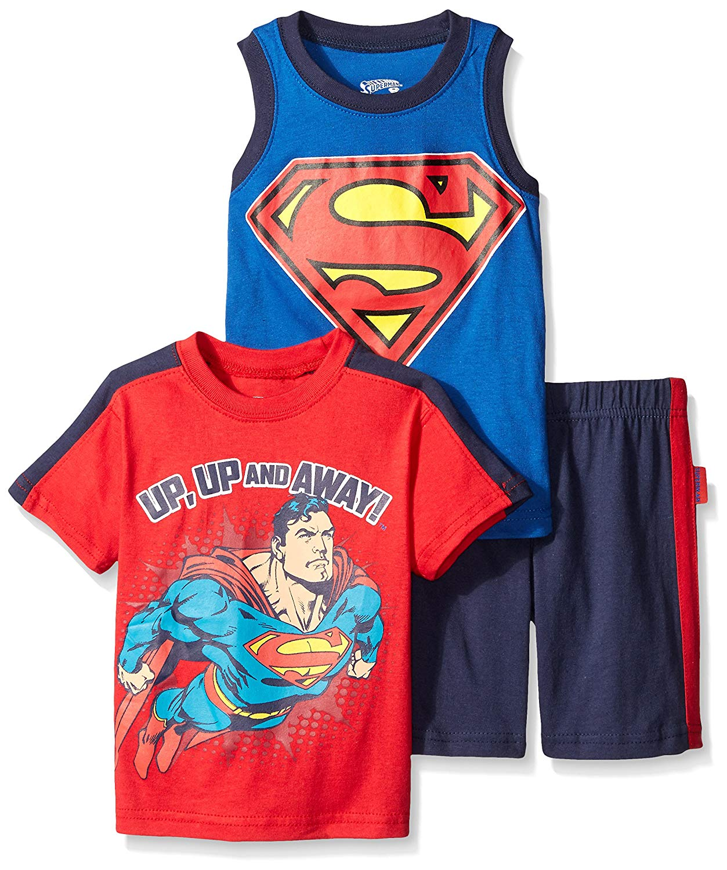 ffedf9ee80 Get Quotations · DC Comics Boys  3 Piece Batman and Superman T-Shirt Muscle  T-Shirt