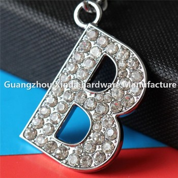 beautiful diamond letters key chain keyring b design crystal letters keychain keyring