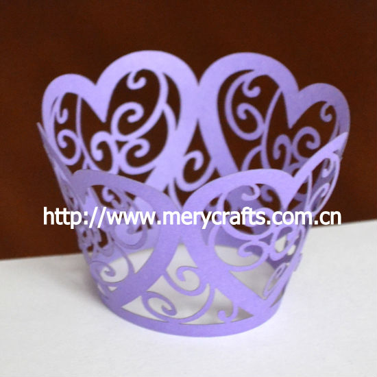 "laser cut ""heart flower"" cupcake wrappers purple wedding decoration"