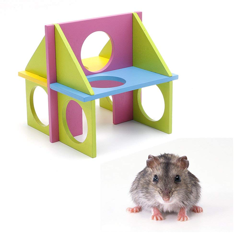 NNDA CO pet toys,Pet Mouse Rat Hamster Wooden Funny Fun Gym Playground Exercise Safe Toy Colorful