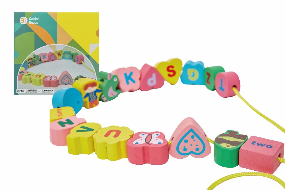 Hot 36PCS Wooden Educational Block String Beads Baby Toys
