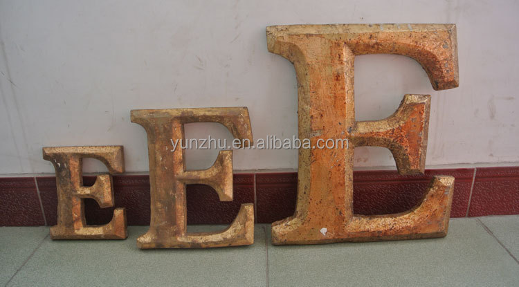 antique hand carving glod love wood letters