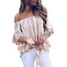 fashion summer irregular striped shirt casual Flare sleeve ladies Blouse hem knot Off Shoulder Elegant Female Tops 30% off