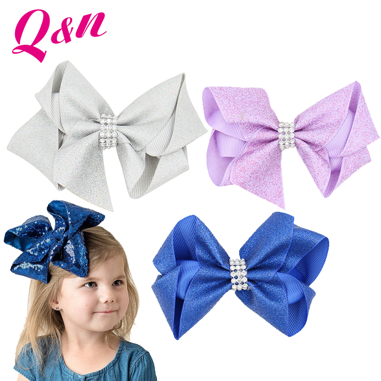 Safe kids hair accessories ecofriendly hair clip handmade sequin fabric hair bows