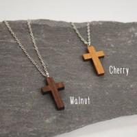 Wooden Jewelry, Beaded Necklaces, wooden cross hanging pendant