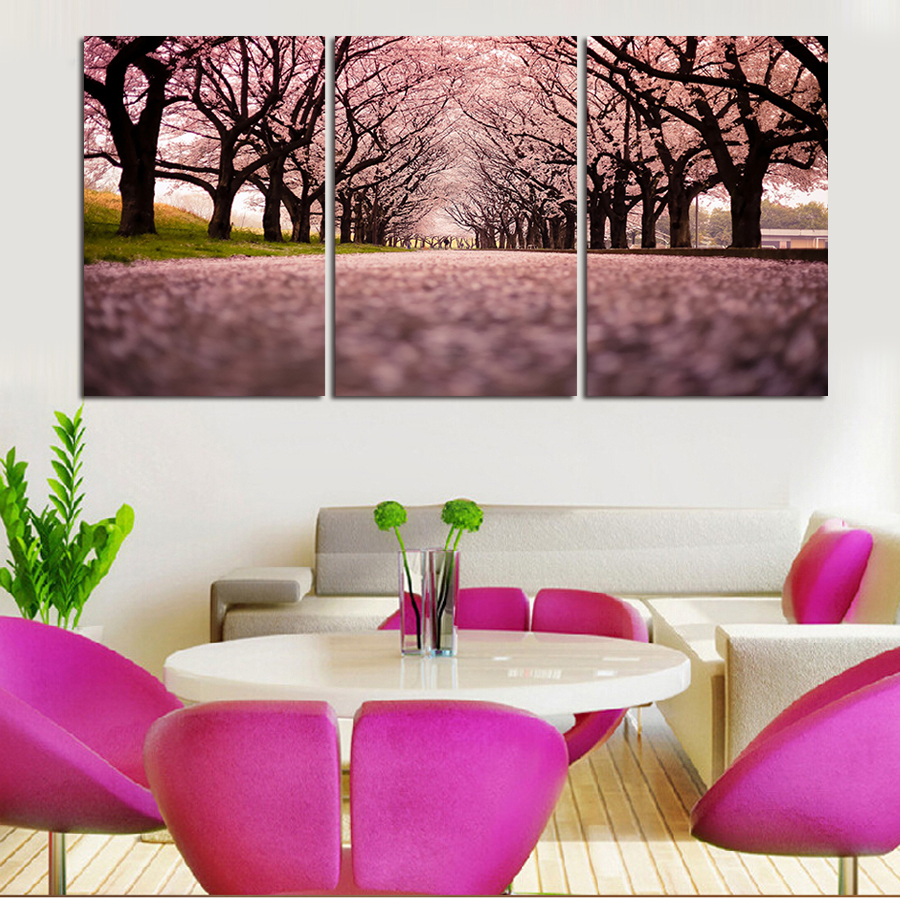 3 Piece The Purple Flower Sea Modern Home Decor Wall Art Canvas HD Picture Art Print Painting On Canvas For Living Room Unframe