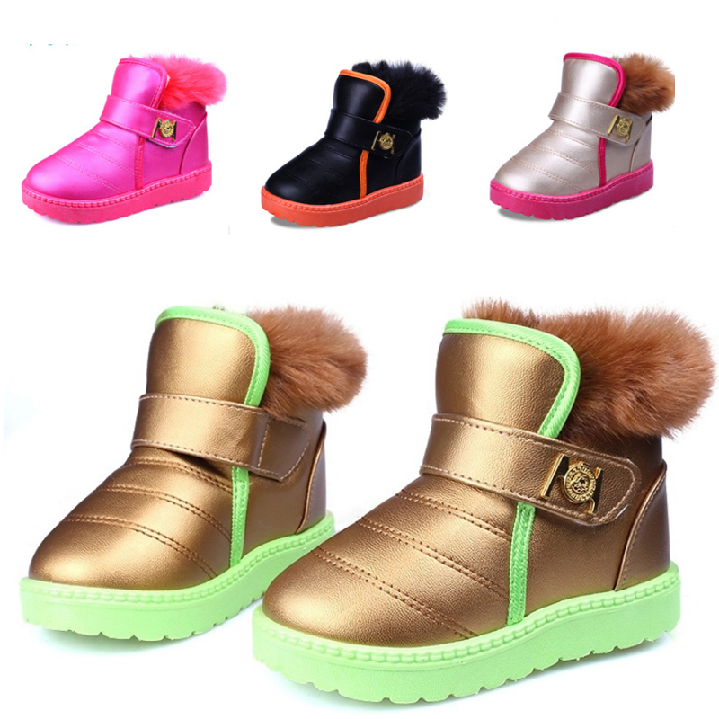 New Girls Snow Ankle Boots PU Leather Children Shoes Fashion Sneakers Flats Heels Martin Boots Boys Kids Chaussure Enfant Shoe