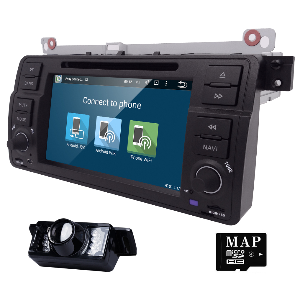 Android 5.1 Quad core HD 1024*600 screen 2 DIN Car DVD GPS Radio stereo For  BMW E46 M3 wifi 3G GPS USB SWC AUDIO DVB-T BLUETOOTH