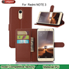 Super Good Quality Brand Wallet Stand Card Slot Genuine Leather Case For xiaomi redmi note3
