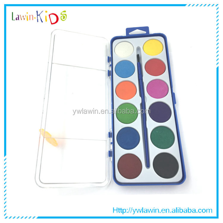 12 pieces water soluble pearl watercolor paint set for children with 1 paint brush