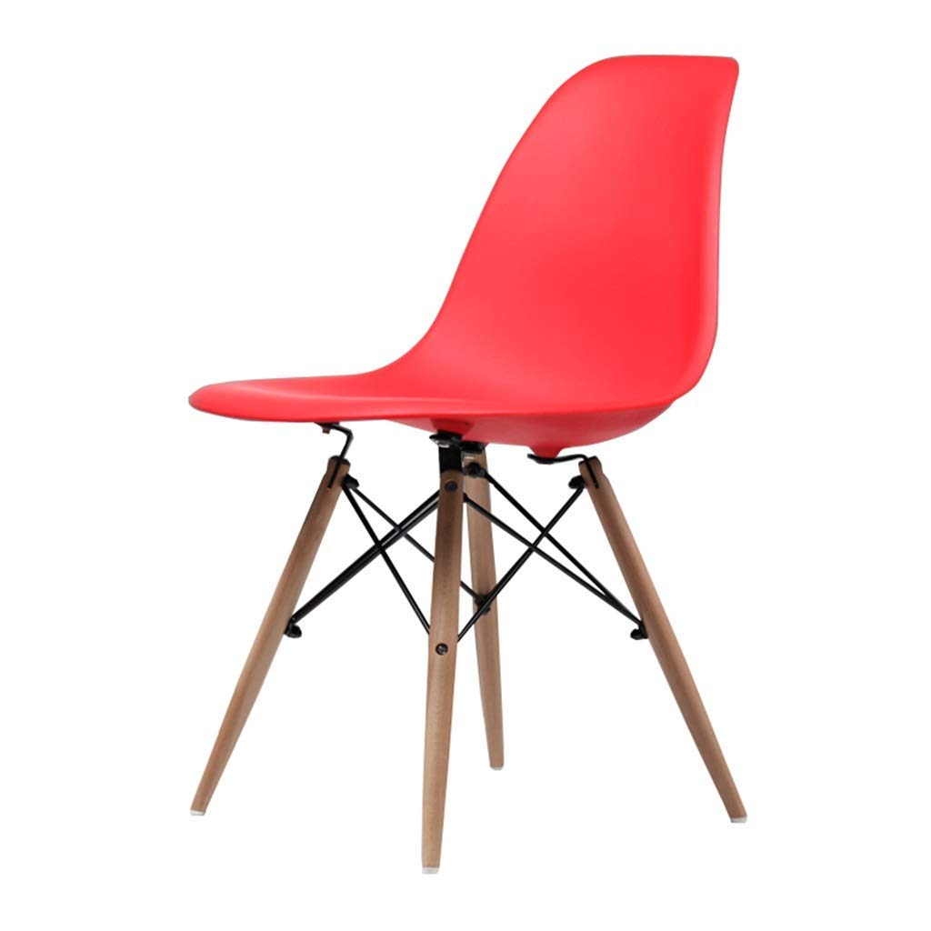 Wooden Chair Creative Office Stools Kitchen Dining Table Meeting Room Backrest Business Computer Chair Barstools,45x45x82cm,Red