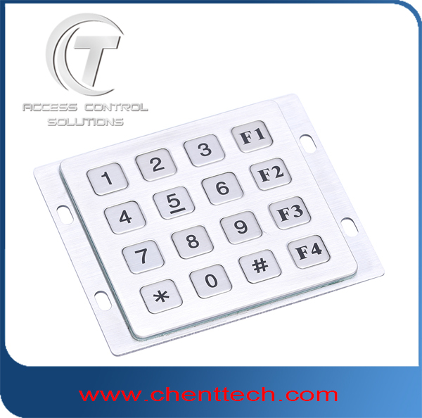 IP65 waterproof Meallic keypad Access control code stainless steel keypad 4x4