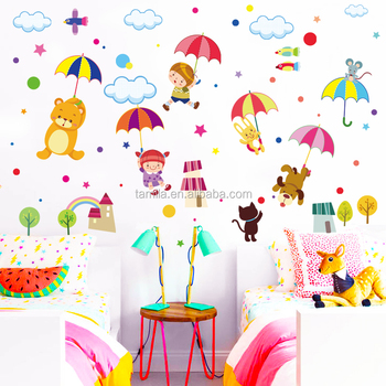Children S Cartoon Bear Wall Sticker Room Decoration Umbrella Decal Pvc Transpa Film Animal Stickers Free Anime