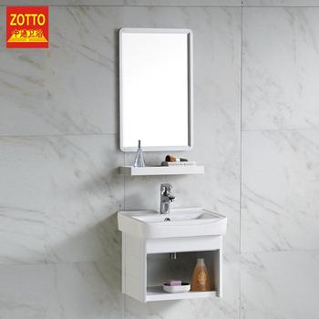 White Wall Mounted Small Hung Bathroom Vanity Aluminum Wash Basin Mirror Sink Cabinet