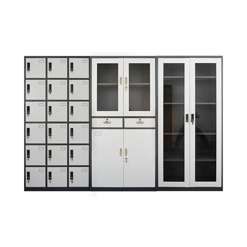 Büro feuerfester Aktenschrank Stahlschrank mit Bügelbrett 3 Türschließfach mobile Metallschublade Almirah