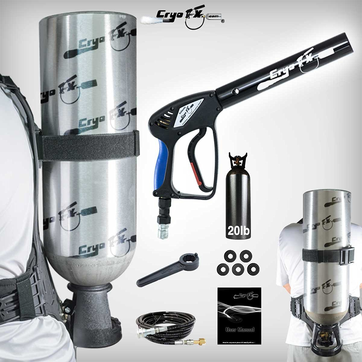 CryoFX Cryo Gun + CO2 Backpack + CO2 Tank - CO2 Jet Package