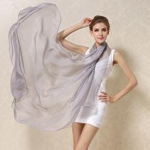 Mulheres 100% Natural Silk Scarf Shawl Feminino Seda Pura Cachecóis Wraps modelos Finos Plus Size Xales Long Beach Cover-ups 180*110 cm