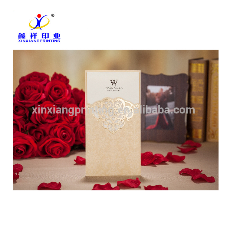 Kostenlose Muster recycelbar Falten Hochzeit Einladungskarte mit Umschlag Tasche, gefaltete Papierkarten