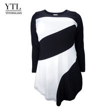YTL Женская Осенняя футболка большого размера, Новая женская Повседневная футболка с длинным рукавом, цветная Лоскутная футболка размера пл...(Китай)
