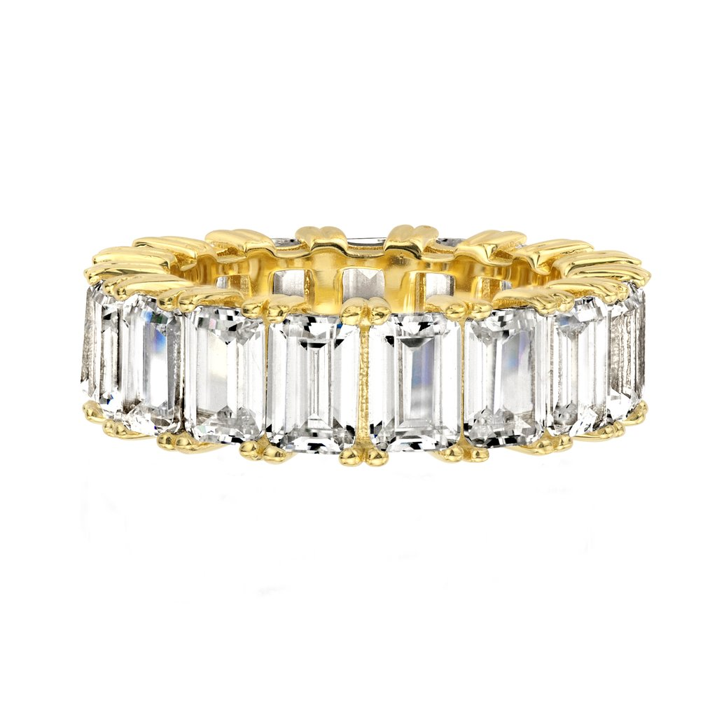 18K Prong Emerald Cut Eternity Band Ring in 925 Sterling <strong>Silver</strong>