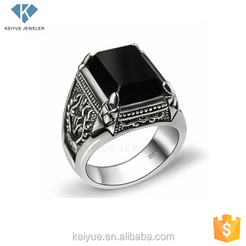 Rings Silver for men with black stone rare photo