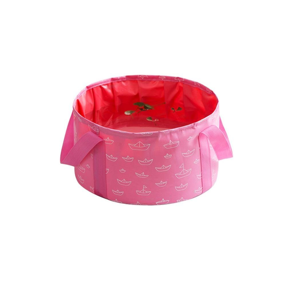 Compia Multi-functional Durable Leak-Proof Wash Folded Basin Collapsible Bucket Ultralight Portable 10L Wash Water Bag for Outdoors/Camping/Backpacking/Hiking/Trekking (Pink)