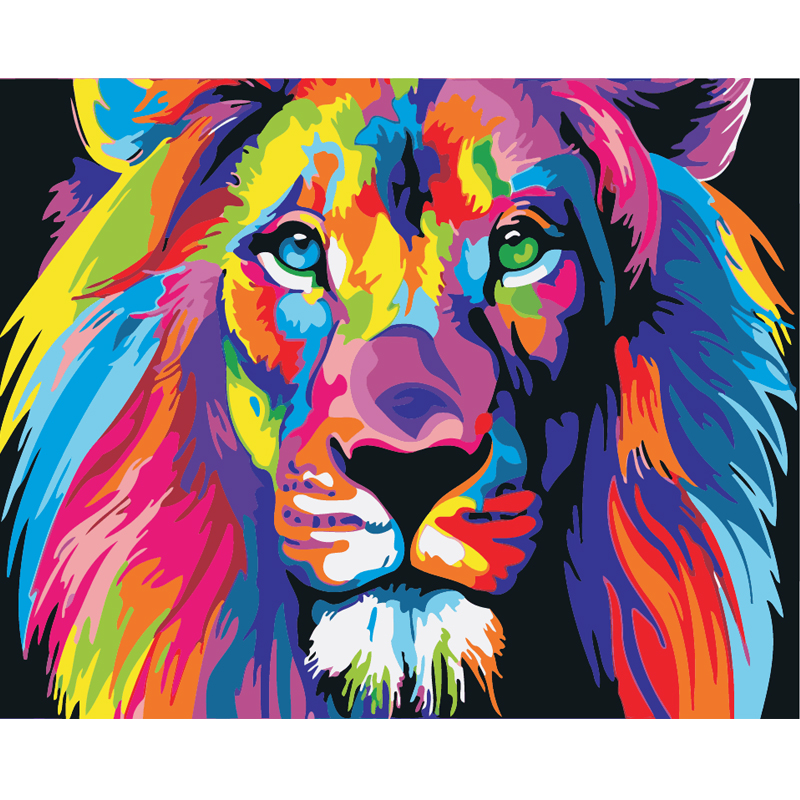 Lion Diy oil painting <strong>pictures</strong> of children handmade art for living room