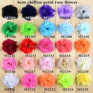 Decorative fabric flower wholesale handmade flowers for hair hat decoration -chiffon flower
