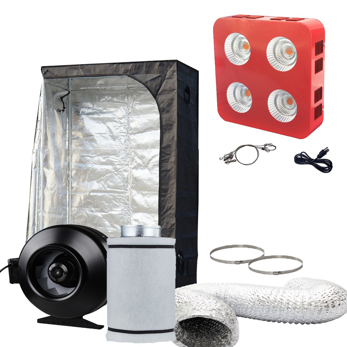 "Oppolite LED Grow Light Tent Complete Kit Hydroponic Growing System LED800W COB Grow Light+4""/6""Fan Filter Combo+24""x24""x48""32""x32""x63""48""x48""x80""Indoor Tent (LED 800W+48""X24""X72""+6"" Combo)"