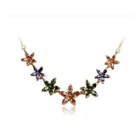 Latest Attractive Copper colorful zircon bling star Pendant Hawaiian Necklace for Women