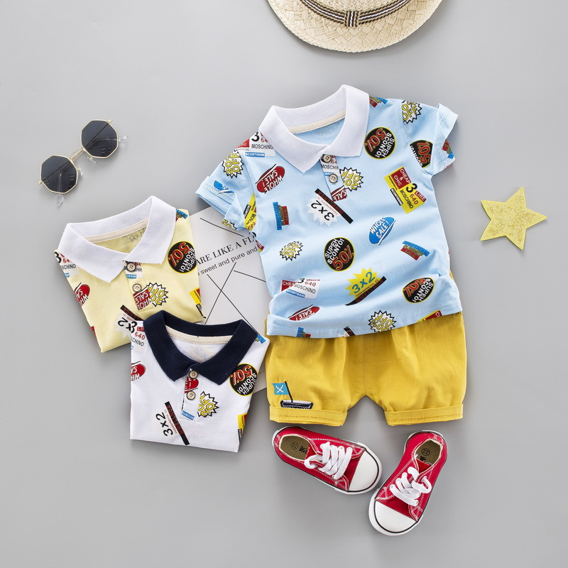 2019 New Summer Casual Edition Child Baby Short Sleeve Set <strong>Digital</strong> Lapel Access Short Sleeve Shorts Two Piece Set
