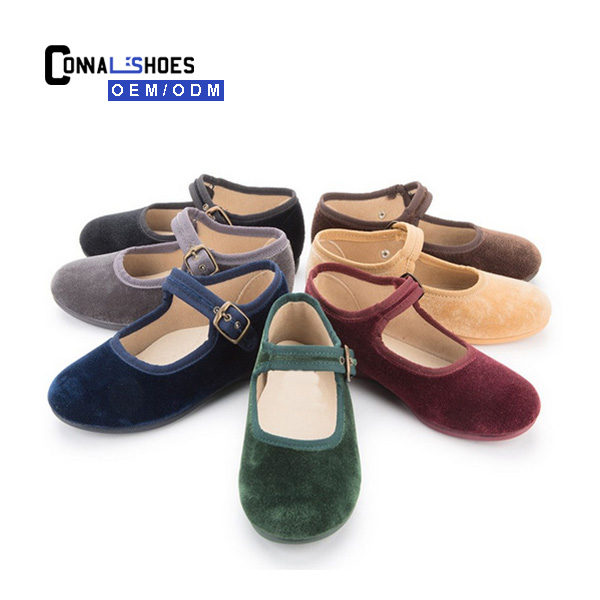 Connal different colors velvet buckle max kids mary jane shoes