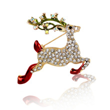 CS00352 JN wholesale fashion Christmas gift brooch women running deer crystal brooch