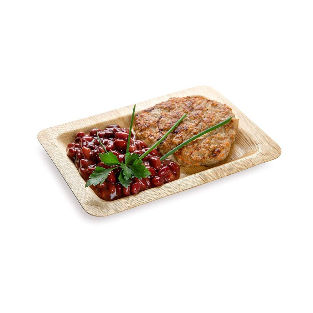 """Rectangle Bamboo Leaf Plate - 8"""" Bamboo Plate - Heavy Duty - Disposable - 100ct Box - Restaurantware"""