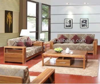 Living Room Fabric Furniture Sofa Nature Solid Wood Set