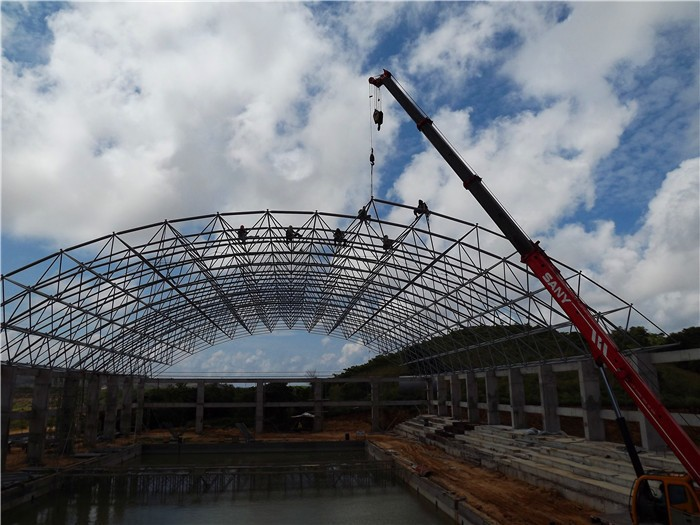 Steel frame structure swimming pool roofing