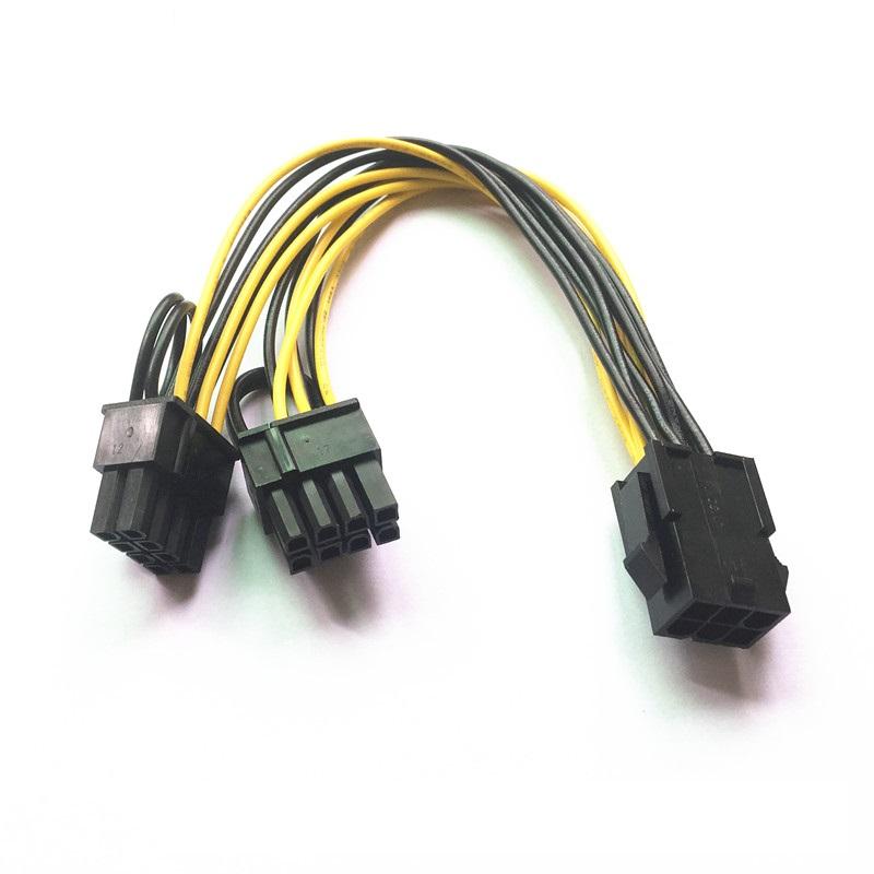 PCI-E 6-pin to 2x 6+2-pin Power PCIE PCI Express Splitter Cable 6-pin//8-pin