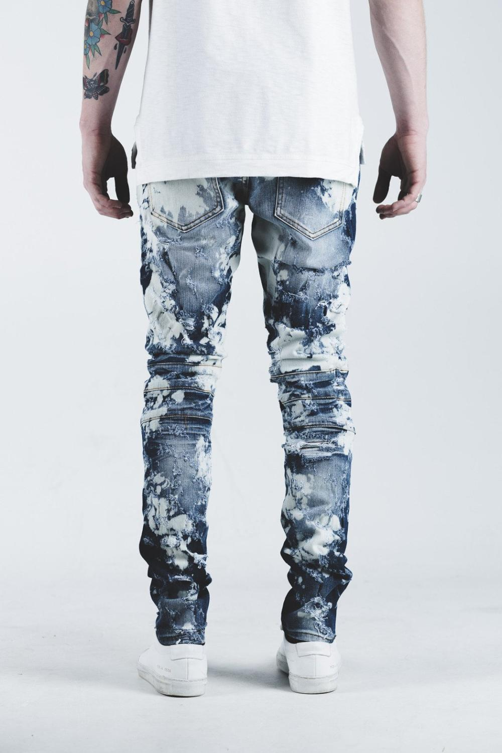 new china factory high quality brand your own Ripped bleach blue stone wash Biker used jeans usa 212