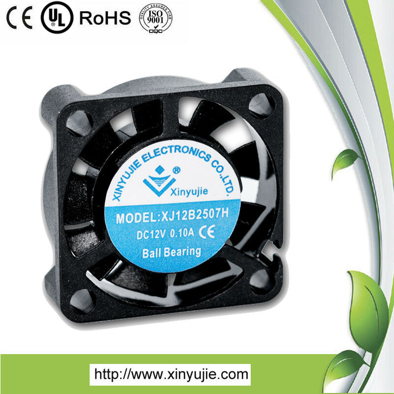 XJ 25*25*07mm 12v dc brushless cooling fan/exhaust fan price/kitchen adjust fan