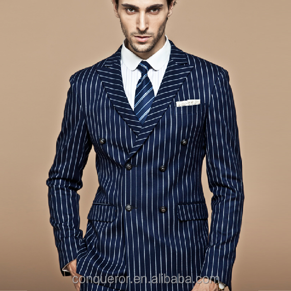 fashion made to measure strip fabric customized men suit (SHL1036)