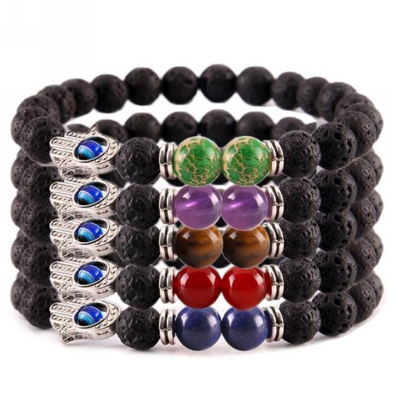 Top selling products natural lava stone beads 7 healing Yoga chakra bracelet Bangles