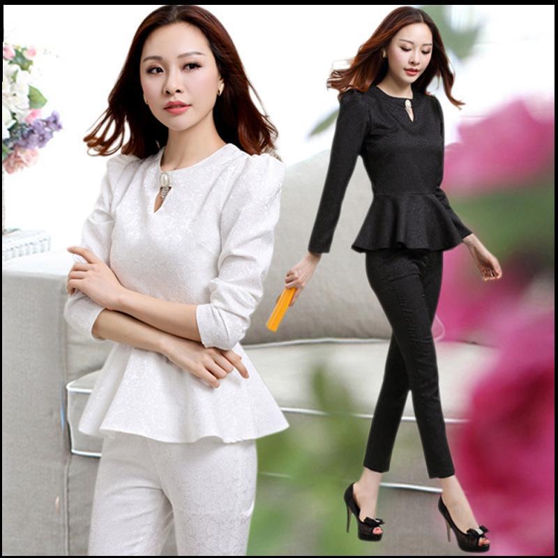 2 шт. комплект элегантных женщин брюки костюмы новый 2015 бизнес блейзер костюмы с брюками мода офисные дамы костюмы черно-розовый белый