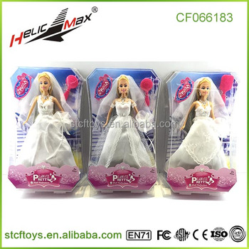 Hot Sale Wedding Dress Bride Baby Doll Up Games For Girls Pretend Play Toys Made