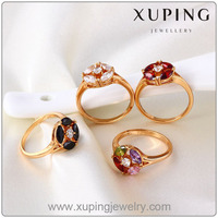 Fashion Fine Cubic Zircon Crystal Diamond Jewelry Ring with 18k Gold Plated
