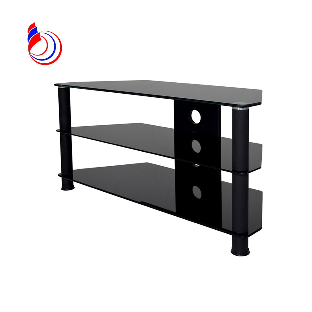 3-tiers all black glass lcd tv stand sale