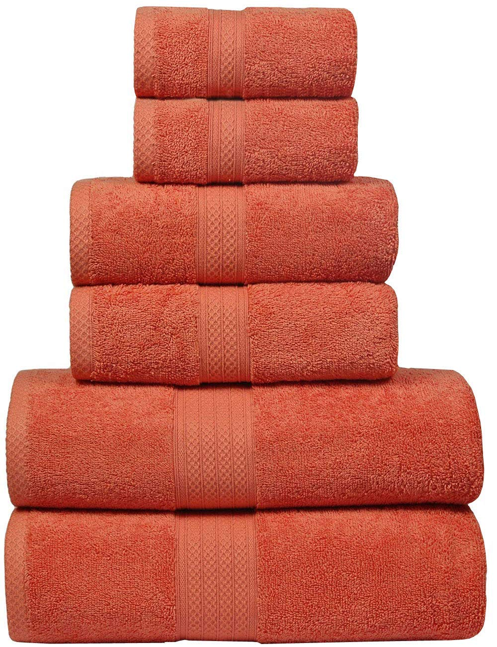 Bath Towels in 100% Ring Spun Combed Cotton With Luxurious & Ultra Soft,Highly Absorbent,Bathroom Towels,Bath Towel Set,Bath Towel Cotton,Bath towel- 27x54-Orange (Set of 6 ,Bath-2,Hand-2,Wash-2)